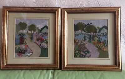 "English Vintage Tapestry Pair Pretty Country Cottage Gold Frame 12"" X 13""  VGC"