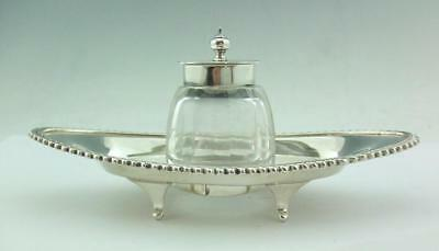 Charming Late Victorian English  Solid Sterling Silver Inkstand Ink Bottle