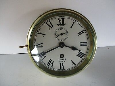 Smiths Astral Ships Brass Bulkhead Or Wall Clock 8 Day