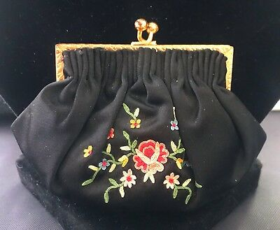 Stunning Rare Antique Vintage French Petit Point Silk Purse Gold Toned Frame