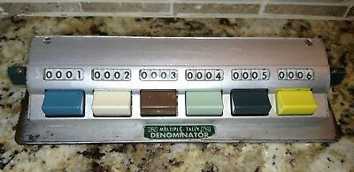 VTG Multiple Tally Denominator 6 Button Counter Mid Century Modern Made in USA