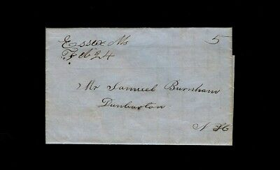 Essex MA 1840s folded letter from Hannah Wells to Samuel Burnham in Dumbarton NH