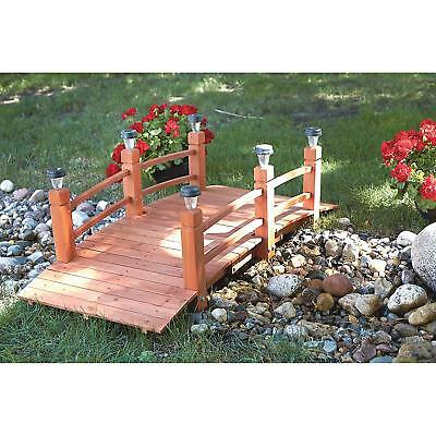 Garden Wood Pillar Bridge With 6 Solar Lights 5ft. Patio Outdoor Decoration