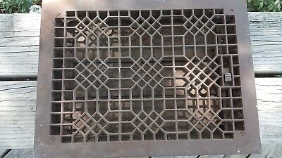 Vintage Rectangular Cast Iron Floor Wall Register Grate Vent w/Louvers