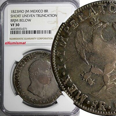 Mexico Augustin I Iturbide Silver 1823 MO JM 8 Reales NGC VF30 2 YEARS KM# 310