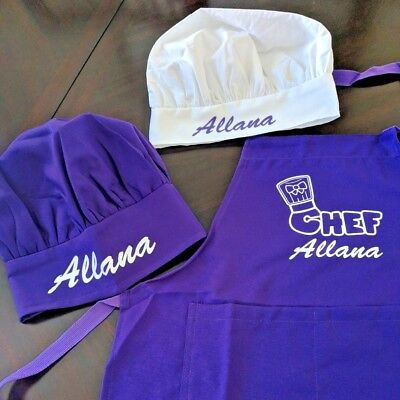 Personalized Kids Chef Apron and Chef Hat Cooking Set   Color Matched Ages 2-13