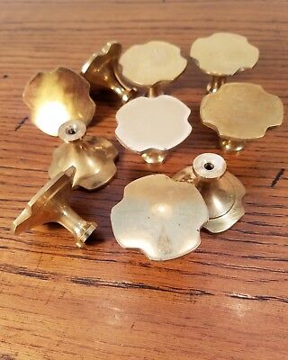 Lot Of 10 Solid Brass Mid-Century Modern Drawer Pulls Knobs