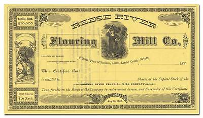 Reese River Flouring Mill Company Stock Certificate (1880's)