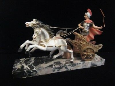 Vintage Roman Greece Chariot White Horses Statue Marble Base Italy