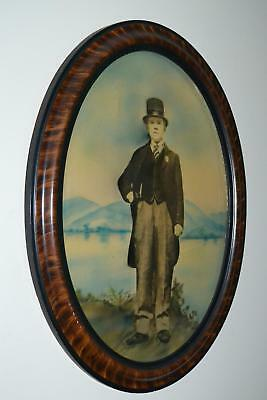 Antique Oval Frame High Hat Man Photo Convex Bubble Glass Tiger Stripe Black