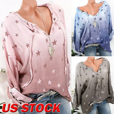USA Fashion Womens Summer Loose Casual Long Sleeve Tie Neck T Shirt Tops Blouse