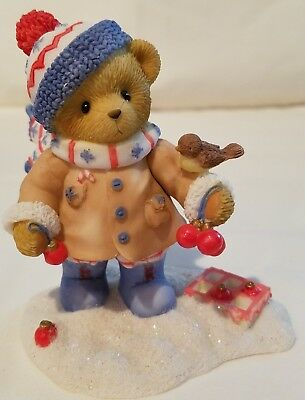 Cherished Teddies Bear Figurine Colton Share Winter Wishes With All Signed NIB