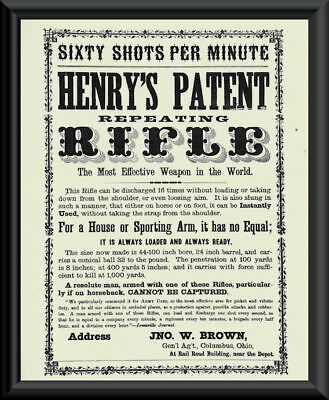 Henry Repeating Rifle Advertisement Poster Reprint On Fine Linen Paper *P006
