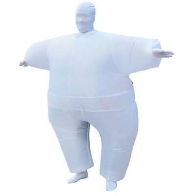 Adult Inflatable Fat Chub Costume Halloween Outfit Cosplay Fancy Dress White