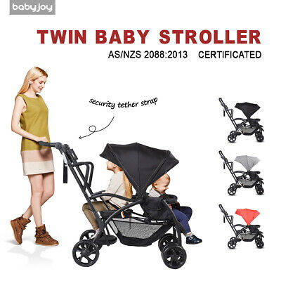 Foldable Tandem Stroller Ultra 2in1 Stand&Ride Twin Baby Toddler Pram Travel