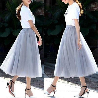 Retro Women Girls Multi Layer High Waist Tulle Pleated Tutu Dress Maxi Skirt B