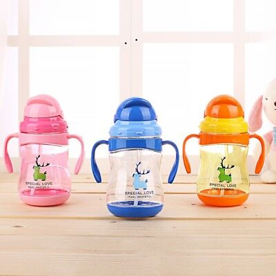 Baby Water Milk Feeding Learn Drinking Bottle Kids Straw Suction Cup With Handle