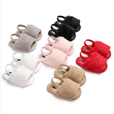 Girls Toddlers Baby Kids Girl Childrens Fluffy Fur Summer Sandals Shoes