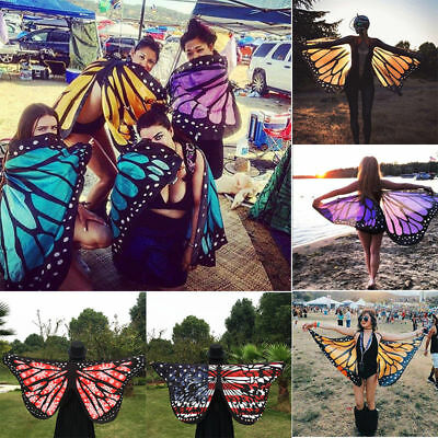 Soft Fabric Butterfly Wings Halloween Fancy Dress Costume For Adult Kids Game