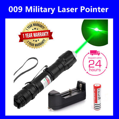 1mw 532nm 8000M High Power Green Laser Pointer Pen + Battery & Charger AU