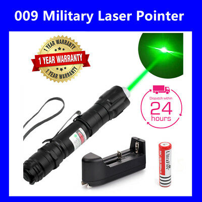 Military Powerful Green Laser Pointer Pen + 18650 Battery & Charger AU