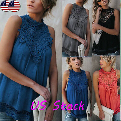 Fashion Summer Women's Chiffon Sleeveless Casual Vest Top Blouse Lace Tops Shirt