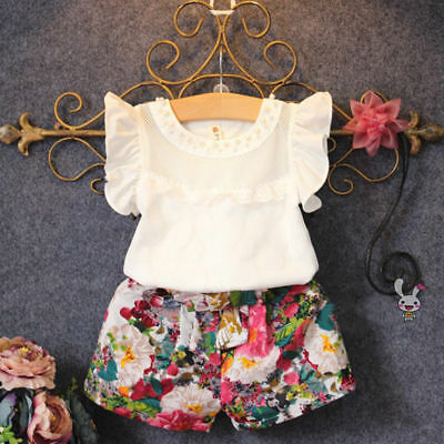 2PCS Toddler Kids Baby Girls Short Sleeve T-shirt Tops Pants Outfits Clothes USA