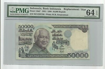 Indonesia Pick#136d* 1995/1998 50000 Rupiah  PMG 64 EPQ Choice Uncirculated
