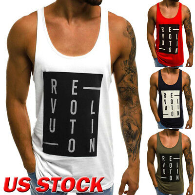 US Men's Loose Style O-Neck Sleeveless Casual Shirt T-shirt Basic Vest Tank Tops