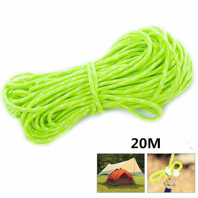 20M Reflective Guyline Tent Rope Guy Line Camping Cord Paracord