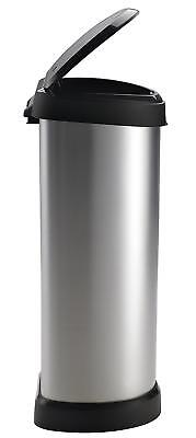 Plastic Metal Bin 40 L Effect One Touch Deco Silver Lightweight Easy To Clean Uk