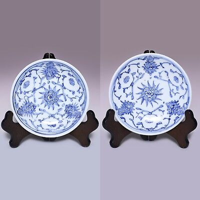 Pair of Qing Dynasty Jiaqing Blue and white interlock branch Flower Plate JZ116