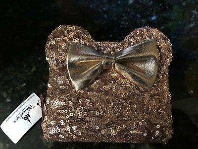WOW Disney Disneyland Loungefly Rose Gold Ears Sequin Minnie Mouse Mini Wallet