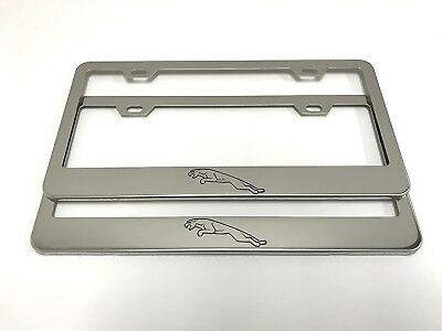 2) STAINLESS STEEL CHROME Polished Metal License Plate Frame ...