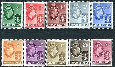 BRITISH VIRGIN ISLANDS-1938-47 Set of 10 Values on Ordinary Paper Sg 110a-119a