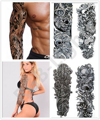 4 Sheets Removable Extra Flower Temporary Tattoos Sticker Arm 3D Men RLTS