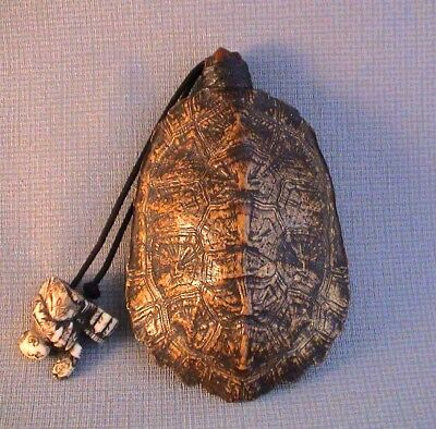 Rare 19th Century   Inro/ Purse Ojime Wooden Head  signed Ippo