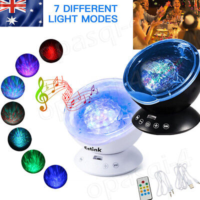 Ocean Wave Music LED Night Light Projector Remote Lamp Atmosphere Projector Baby