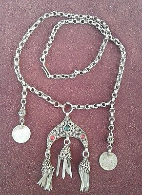 Real Antique Silver ? Ottoman Turkish Islamic Tughra Necklace Jewelry Filigree