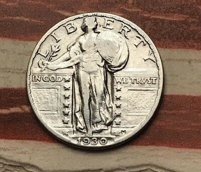 1930 25C Standing Liberty Quarter 90% Silver Vintage US Coin #UN44 Very Sharp