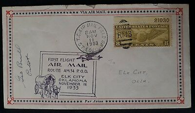 RARE 1933 United States 1st Flight Route Am54 Elk City Cover ties 8c stamp