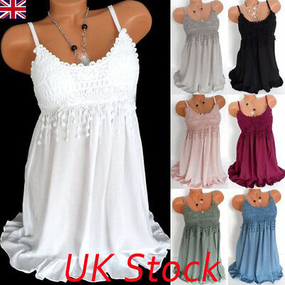 Womens Summer Holiday Lace Dress Ladies Long Vest Swing Strappy Tank Tops Dress