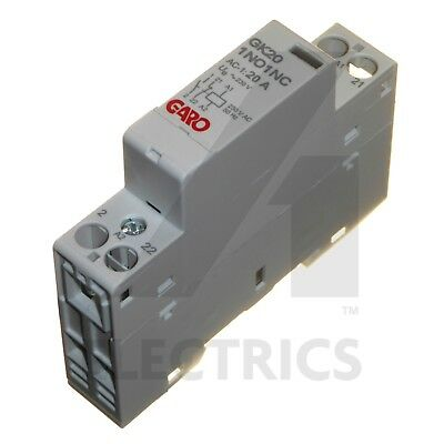 20A 2 Pole Contactor 230V AC 1 Normally Open N/O and 1 Closed N/C Modular Garo