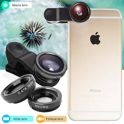 3 in 1 Clip-on Fish Eye Wide Angle Macro Lens Camera Lens Kit Black For iphone