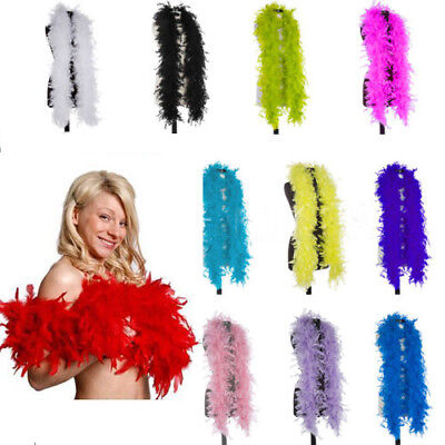 2x FEATHER BOA HEN NIGHT PARTY ACCESSORY GATSBY 20S FANCY DRESS FLUFFY BURLESQUE