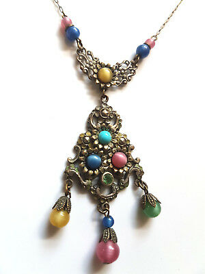 Vintage Czech Art Deco Filigree Glass Bohemian Necklace