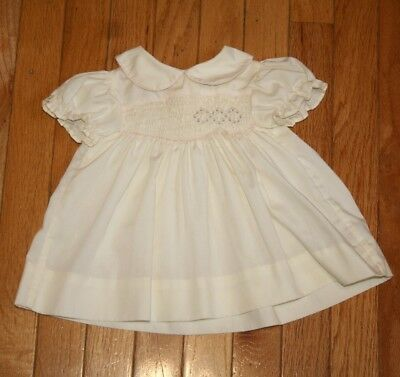 """Vintage Baby Dress- """"polly Flinders""""-Infant/baby-Smocked-Pale Yellow-"""