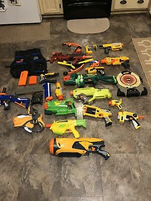 HUGE LOT Of Nerf And Bumble Bee Guns/ Vest/Clips/Target + Bow- Nice Christmas-