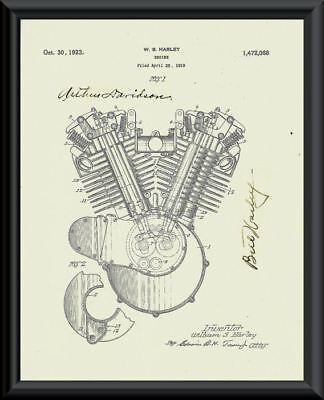 Harley & Davidson Autograph Reprint Patent of Engine On Fine Linen Paper P056