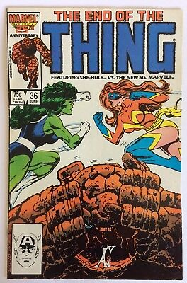 The Thing #36, June 86, The End of the Thing! Ft She-hulk vs Ms. Marvel, F